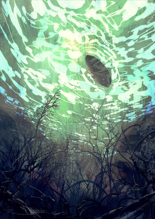 digital painting showing underwater view with the tree branch and stones,waves and reflection of the sun
