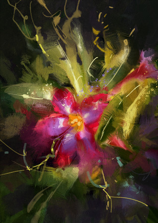 abstract flowers: beautiful painting showing Desert Rose flower