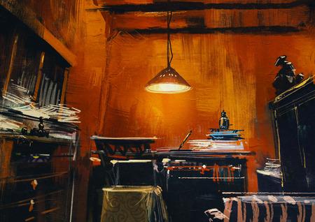 vecchia area di lavoro d'epoca in stanza arancione, pittura digitale