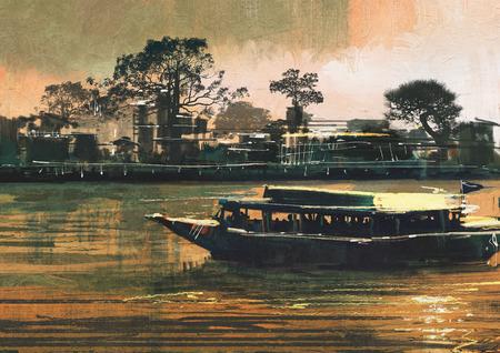 Peinture montrant traversier transporte des passagers sur le fleuve Banque d'images - 42280514