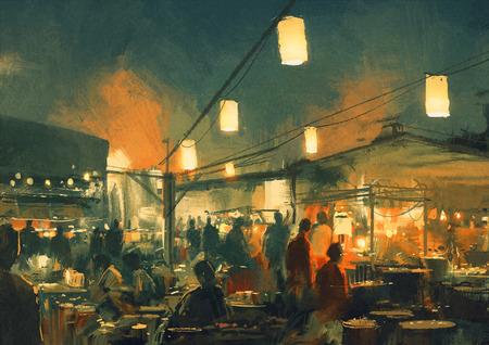 밤에 시장에서 산책하는 사람들의 군중, 디지털 페인팅 스톡 콘텐츠