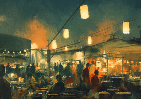 busy restaurant: crowd of people walking in the market at night,digital painting
