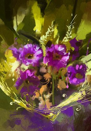 purple flowers: bouquet of purple flowers ,digital painting
