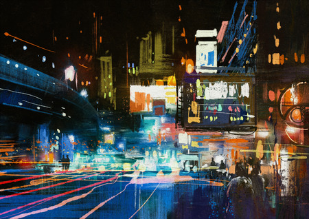 painting of modern urban city at night ,illustration Banco de Imagens