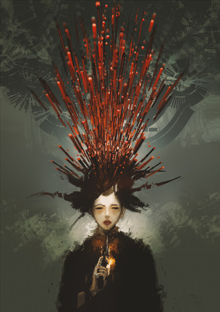 Mujer Suicidio que confía con el arma y sangre metafórica, pintura digital ilustración Foto de archivo