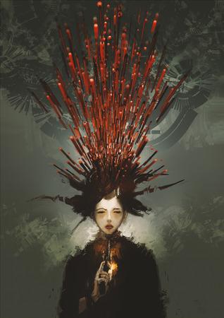 Mulher de cometer suicídio com arma e sangue metafórica, pintura digital ilustração