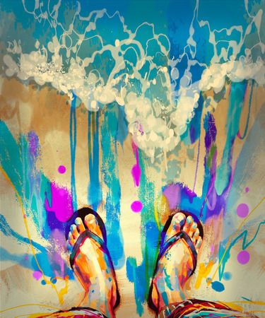 sandy feet: painting of colorful feet with flip-flops on sandy beach Stock Photo