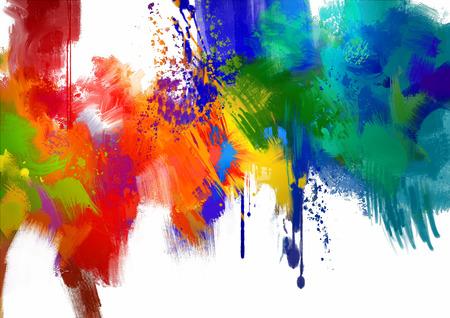 abstraite coloré peinture course sur la peinture blanche background.digital