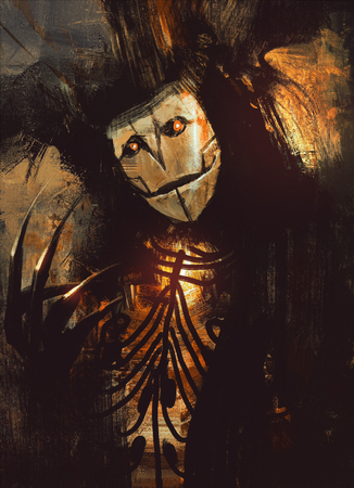 ghost mask: portrait of a dark fantasy character.digital painting Stock Photo