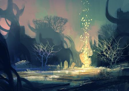 schilderij van fantasie landschap met een mysterieuze bomen