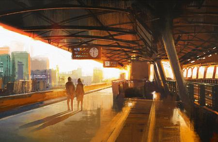 繪畫展示情侶站上等待火車