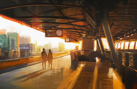 peinture montrant deux en attente d'un train sur la station