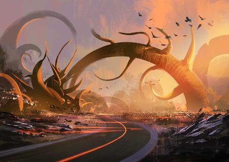 schilderij van fantasie landschap met een mysterieuze bomen bij zonsondergang Stockfoto