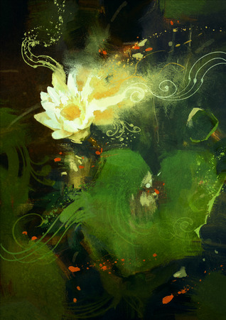 wet leaf: painting of beatiful white lotus blossom,single waterlily flower blooming on pond