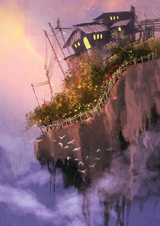 デジタル空に浮遊式人工島のあるファンタジー風景絵画