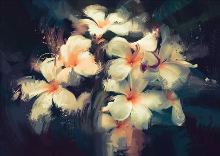 peinture: peinture montrant de belles fleurs blanches au fond sombre Banque d'images