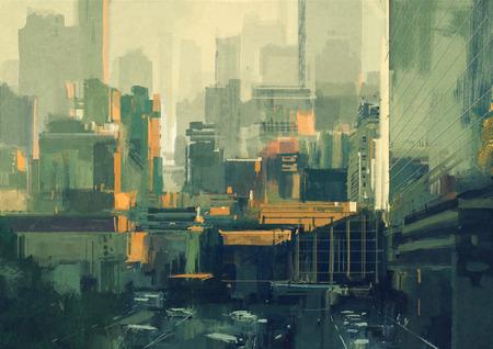 夕暮れ都市空のスクレーパーの都市景観絵画