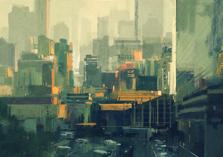peinture: la peinture de paysage urbain de gratte-ciel urbains au coucher du soleil