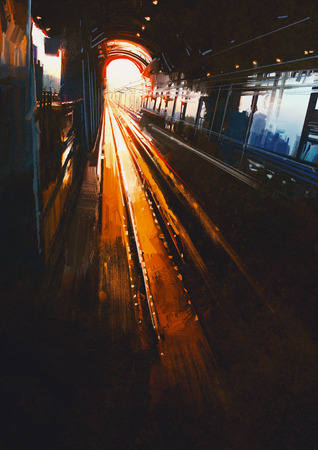 pittura digitale che mostra la stazione ferroviaria con il tramonto Archivio Fotografico