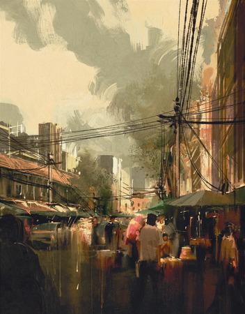 arte abstracto: calle del mercado digital de la pintura, colorido paisaje urbano