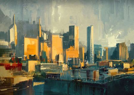 high rise buildings: cityscape painting of urban sky-scrapers at sunset