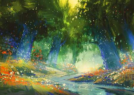 green forest: mystic blue and green forest with a fantasy atmosphere,illustration painting Stock Photo