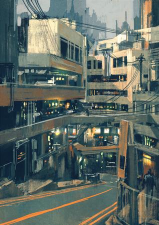 Sci Fi городской пейзаж с футуристическими зданиями, иллюстрации цифровой живописи Фото со стока
