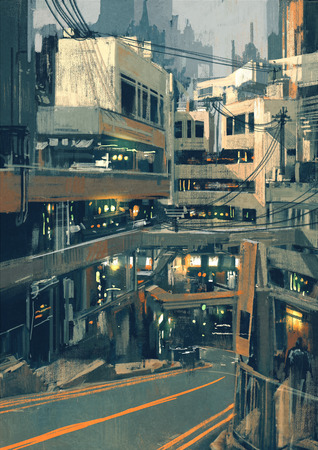 sci: sci fi cityscape with futuristic buildings,illustration digital painting Stock Photo