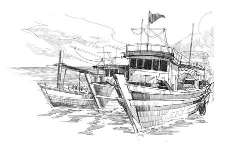 bateau de pêche: esquisse de bateaux de pêche dans un port Banque d'images