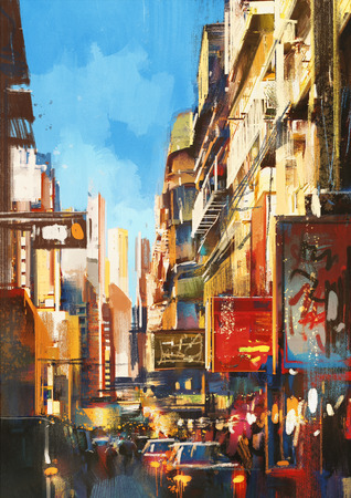 colorful painting of city street on sunny day