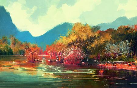 美しい秋の森、イラストの絵 写真素材