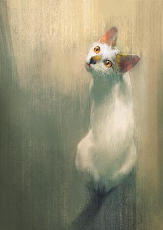 joven gato blanco mirando hacia arriba, pintura digital