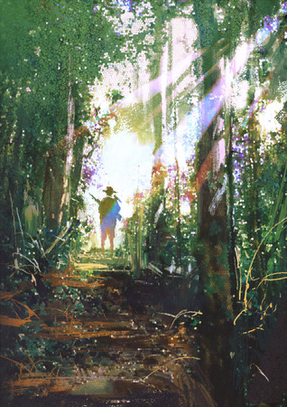 the hunter: cazador con una pistola de pie en un camino en el bosque de verano, pintura digital Foto de archivo