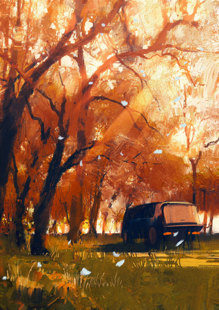 old travelling van in beautiful autumn forest,digital painting Stock Photo