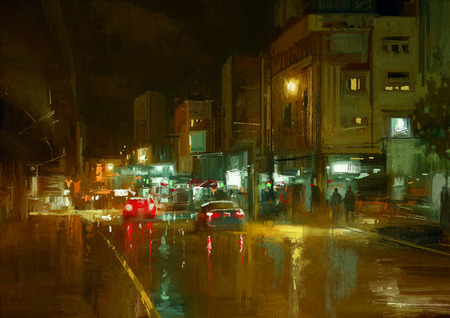street night: digital painting of city street at night with colorful lights.