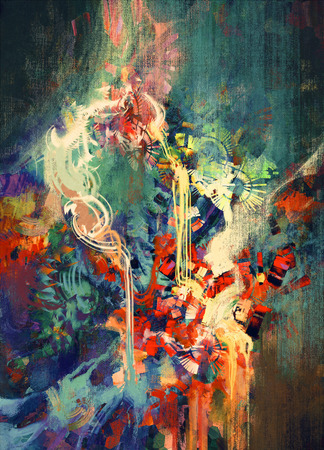 modern painting: abstract colorful painting,melted coloring elements
