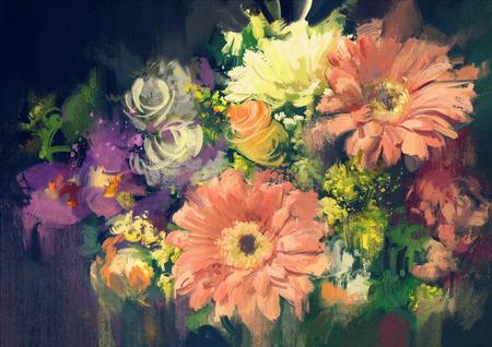 油絵風イラストで花束の花 写真素材