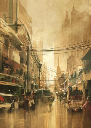 Malerei der Stadt Blick auf die Straße im Vintage-Retro-Stil Lizenzfreie Bilder