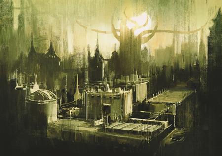 illustratie schilderen tonend skylines en zonsondergang van de donkere stad