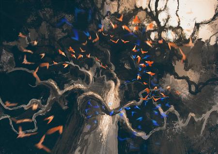 bandada pajaros: mirando hacia arriba en la bandada de pájaros que vuelan a misterioso árbol viejo oscuro, pintura digital