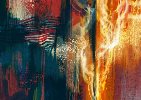 화재 불길의 오렌지 빛나는 화려한 추상 회화의 구성