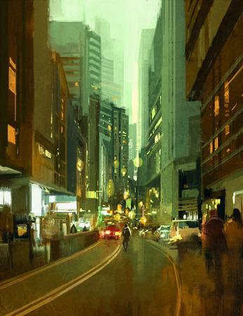 schilderij van de straat in de moderne stedelijke stad 's avonds