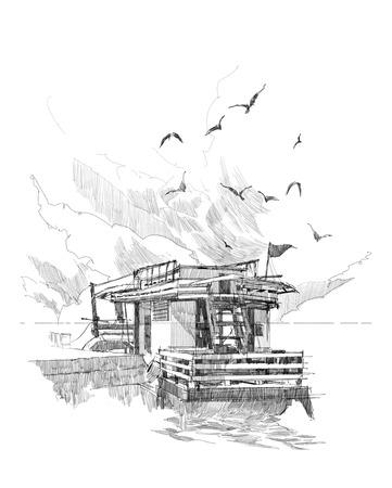 港で漁船の素描