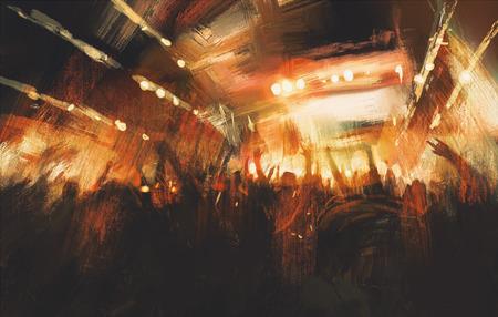 digitaal schilderen tonen juichende menigte op het concert