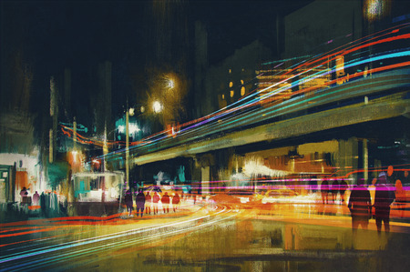 digital painting of city street at night with colorful light trails