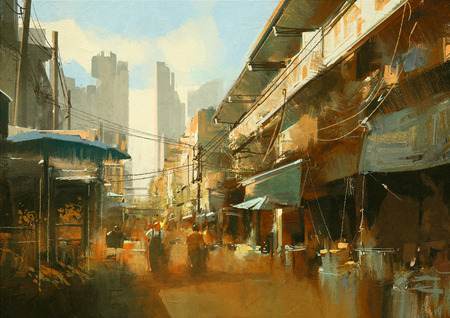 alleys: painting of colorful street market