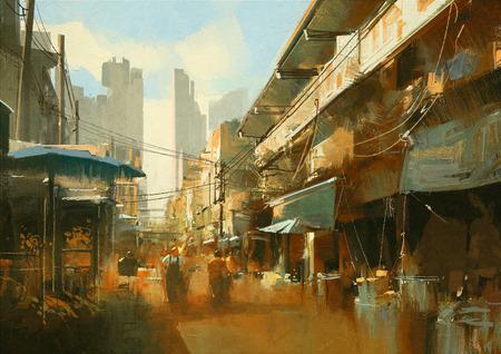schilderij van kleurrijke straat markt Stockfoto