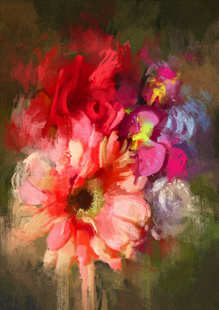 arreglo floral: ramo de flores en el estilo de la pintura al óleo, ilustración
