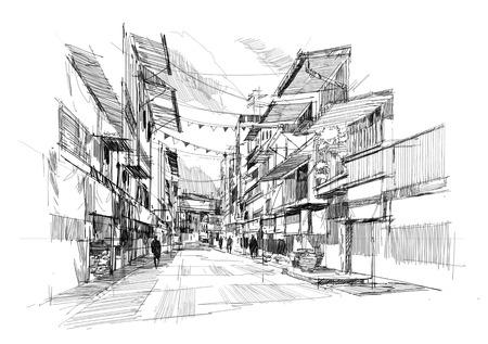 dessin au trait: esquisse de l'ancien march� de la rue