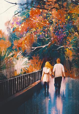 秋の公園、絵画の図で持株を歩く恋人カップル手します。